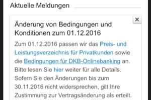DKB Konditionsänderungen