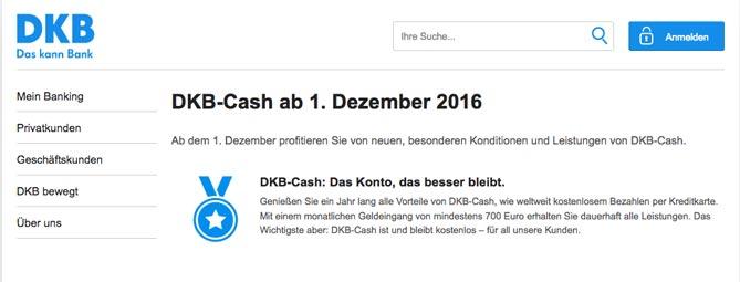DKB Konditionen ab dem 1. Dezember 2016
